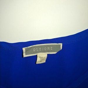 Pleione Tops - Pleione Blue Size S Short Sleeve Top Hi-Low Hem